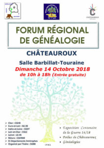 Forum régional de généalogie à Châteauroux @ Salle Barbillat-Touraine